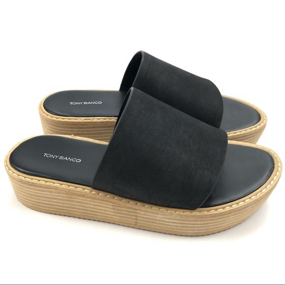 a35b5856d08 Tony Biano Elke Platform Slide Black Leather